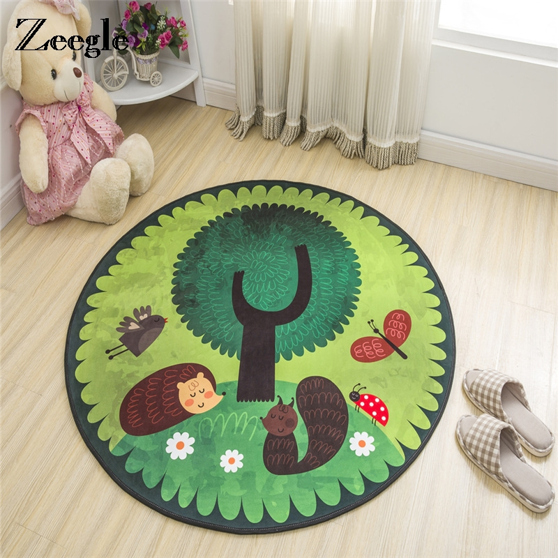 Zeegle Cartoon Round Carpets For Living Room Anti-slip Child Room Rugs Kids Bedroom Carpets Baby Play Mats