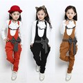 2017 New Kids Girls Clothes Spring Fashion 2 Piece Sets Long Sleeve Bow Lace Children Clothing Autumn Casual Girl Bib Pants Suit