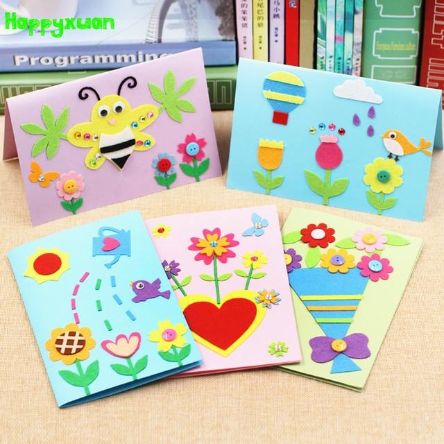 Happyxuan 5pcs Diy Felt Fabric Greeting Cards Kit Kids Making