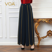 VOA Heavy Silk Office Wide Leg Pants Plus Size Loose 5XL Navy Blue Trouser Women Gold Edged High Waist Long Pants Spring K391