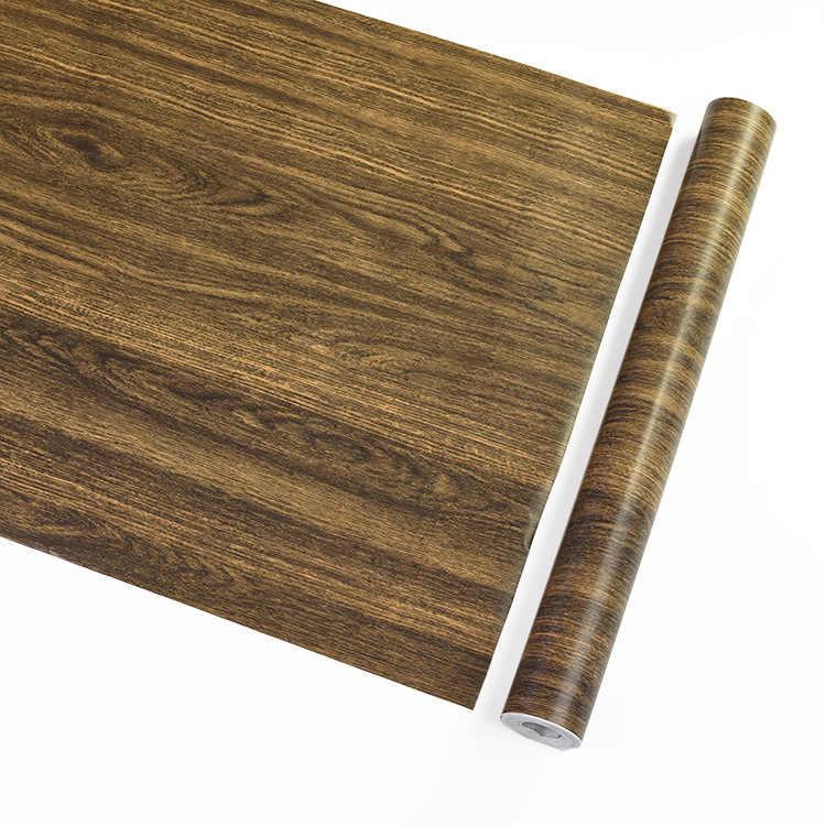 1 M עמיד למים PVC ויניל דביקות עץ טפט מטבח ארון רצפת תקרת חידוש מדבקות על הקיר