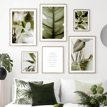 цена Green Plant Monstera Banana Leaf Quotes Wall Art Canvas Painting Nordic Posters And Prints Wall Pictures For Living Room Decor
