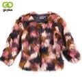 Goplus 2016 faux fox fur coat invierno de las mujeres calientes del color mezclado Collar del soporte Chaqueta de la Capa Natural de Piel De Zorro Outwear La Manga Completa C0864