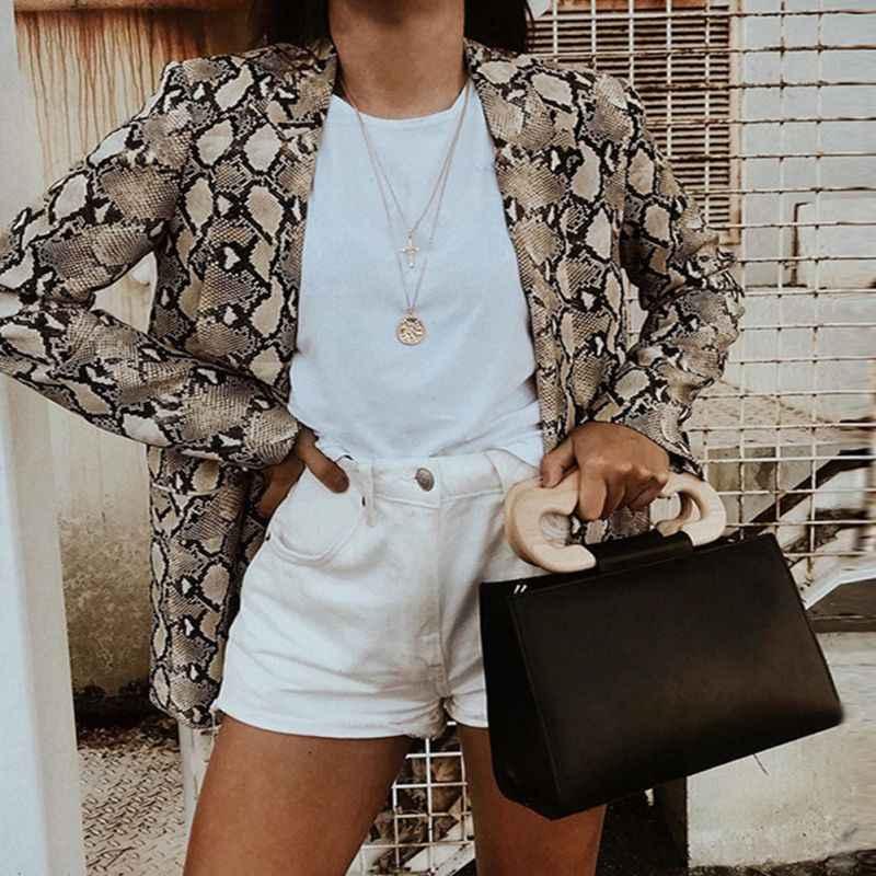 春ヘビプリントブレザー女性ヴィンテージスーツブレザー女性長袖ポケット Leopard のオフィスの女性のジャケット