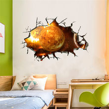 KAKUDER Wall Sticker 3D Printing Gold Planet Pattern Home Decor Bedroom Living room TV Wall Sticker Mural WallpaperSticker 26D25(China)