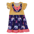 Unique Summer Style Girl Party Dress Elephant Letter Pattern Dot Ruffle Patchwork Striped Yellow Top Butterfly Sleeves DX008