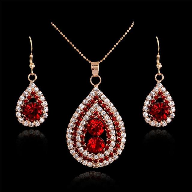 SHUANGR gold color Necklaces   Pendants Earrings Austrian Crystal CZ Jewelry  Set jewelry parure bijoux femme 8c334c8fe893