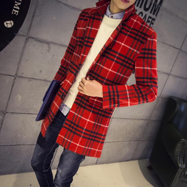 Homens gola mandarim quente xadrez casaco de mangas compridas roupas de lã trincheira Breasted SH012