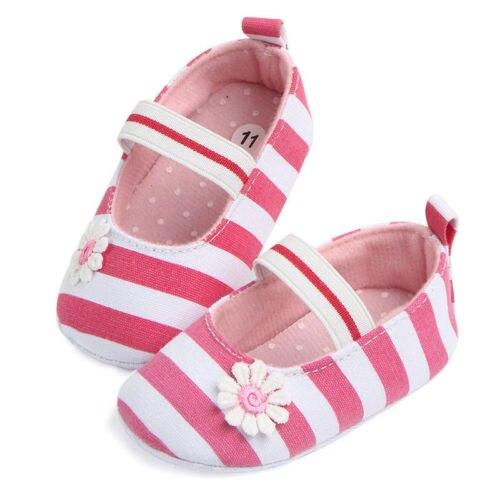 Cute Toddler Newborn Baby Girl Soft Sole Crib Shoes Stripe Floral Anti-slip Prewalker Sneakers Summer Spring Red Black Blue