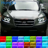 Headlight Multi color RGB LED Angel Eyes Halo Ring Eye DRL RF Remote Control for Hyundai Santa Fe santafe 2007 2012 Accessories