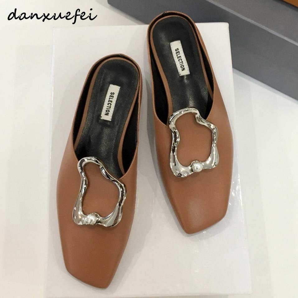 Women's genuine leather slip-in flats sandals brand designer leisure summer sandalias comfortable mules female slides shoes sale