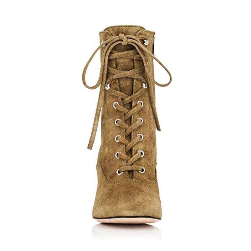 Brown Nous Fsj Chaussures Taille Pointu Up attaché Talons Croix 11 Lace Femmes Clay Bout Daim Zip Cheville Fsj01 Femme Bottes En Causalité Carrés LSzpGVqUM
