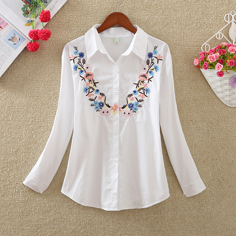 New Fashion flowers embroidered women's clothing women tops blusas  2