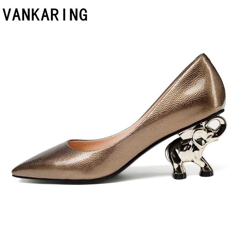Scarpe di marca donna elefante scultura in pelle tacco pompe degli alti talloni della signora di autunno di estate scarpe femminili punta a punta scarpe da sera del partito-in Pumps da donna da Scarpe su  Gruppo 1