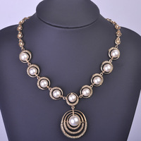 Blucome Luxury Simulated Pearl Cluster Round Necklace For Women Rhodium Oro Gold Plated Wedding Bridal Exaggerated