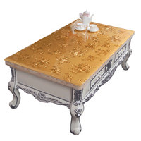 Golden flower printed insulation mat Plastic pvc dinner table cloth classical Soft glass Waterproof and anti hot tablecloth