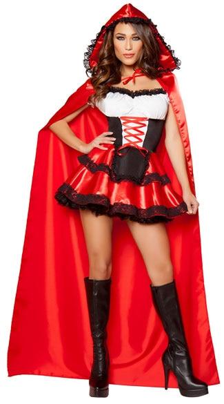 Little Red Riding Hood Costume for Women Fancy Adult Halloween Cosplay Fantasia Carnival Fairy Tale Plus Size Girl Dress+Cloak