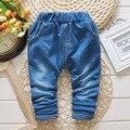 2017 Crianças Outono Do Bebê Meninas Denim Calça Jeans Cintura Elástica Calças Casuais Meninos Calças de Comprimento Total