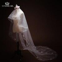 TSC1707109 Beyaz 3 metre Uzun Düğün Veils Bir katman Dantel kenar Retro klasik Gelin Veils Düğün Aksesuarları velos de novia