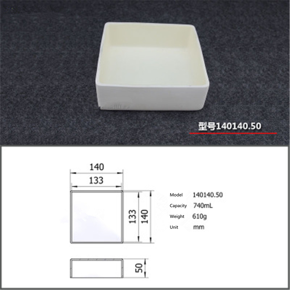 99.5% Square corundum crucible / 740ml 140140.50 / Temperature 1600 degrees / Sintered ceramic crucible99.5% Square corundum crucible / 740ml 140140.50 / Temperature 1600 degrees / Sintered ceramic crucible