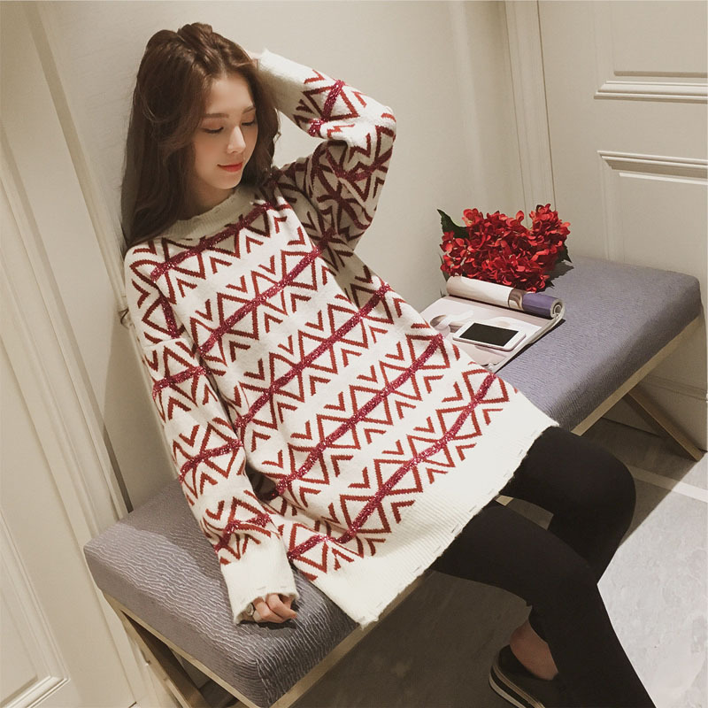 O neck knitting pullover And Sweater women long loose Argyle bottoming sweater thick warm autumn Autumn 2018 long sleeve Jumper 12