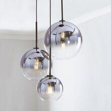 Набор из 3 LukLoy Лофт подвесной светильник, люстры серебряное золото стеклянный шар кухонный Остров современный подвесной потолочный светильник, люстра