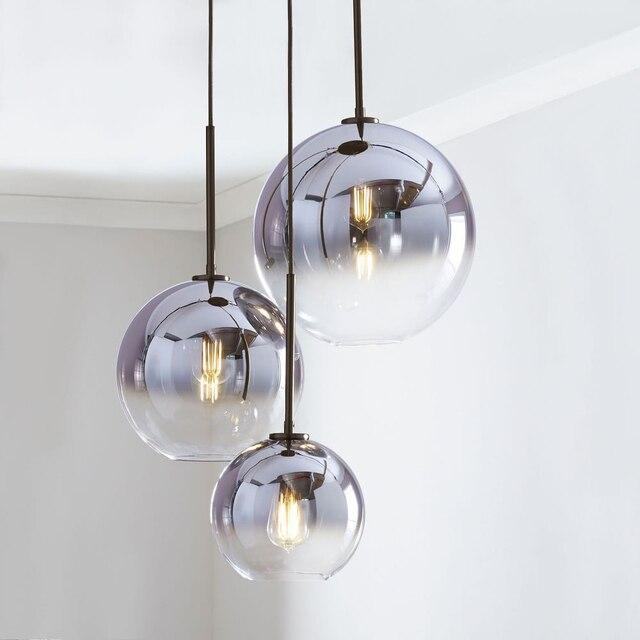 Conjunto de 3 lustre de teto, luminária suspensa moderna para teto, bolas de vidro, prata e dourado