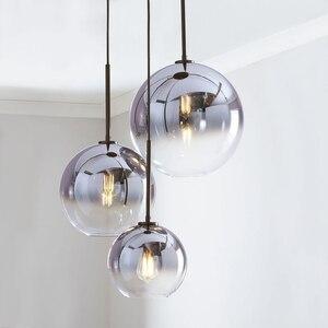 Image 1 - Set von 3 LukLoy Loft Anhänger Licht Kronleuchter Silber Gold Glas Ball Küche Insel Moderne Hängen Decke Licht Lampe Lustre