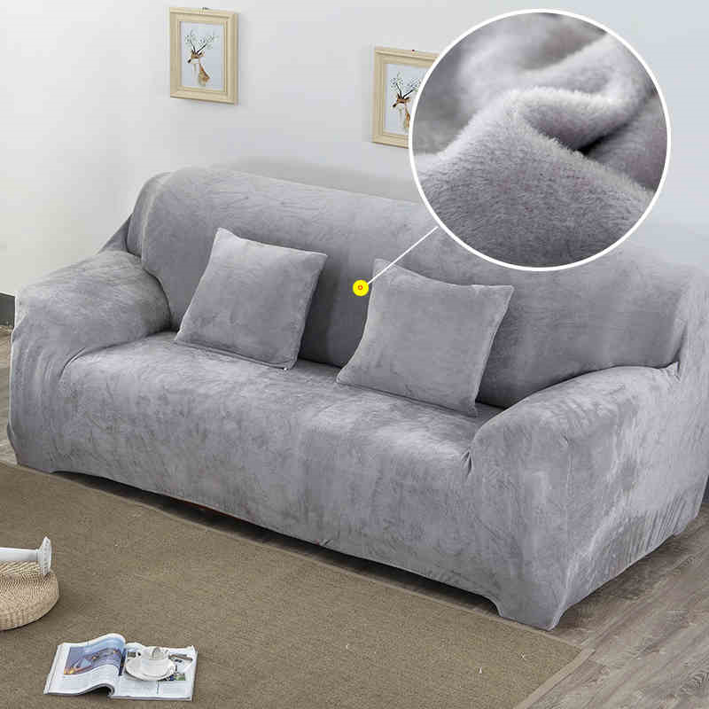 Plush Fabric Sofa Cover For Living Room Solid Color