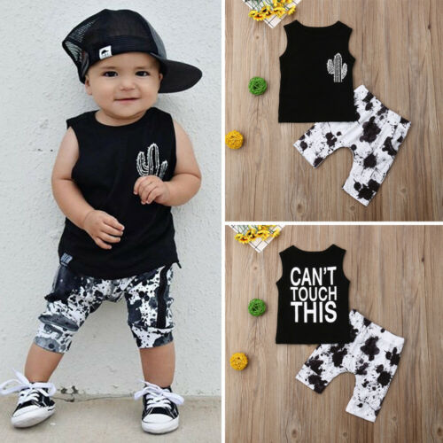 2pcs Newborn Baby Boy Cactus Print Tank Tops Vest Shorts Pants Summer Outfits Clothes
