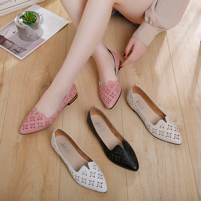 2019 Women's Pumps New Fashion Spring Summer Shoes Casual Point Toe Loafers Shallow Work Shoes Ladies Lady Walking Party Pump