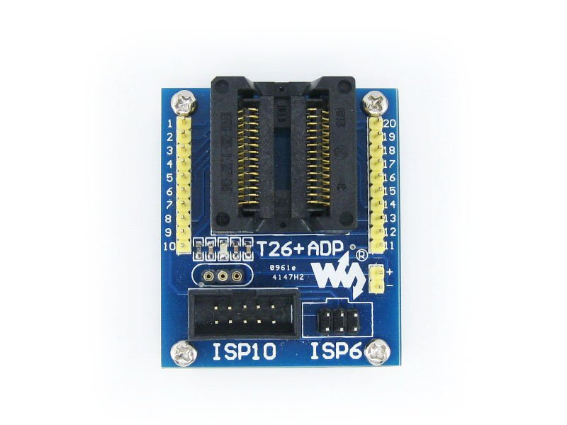 ФОТО T26+ ADP ATtiny26 ATtiny261 ATtiny461 ATtiny861 SOIC20 (300 mil) AVR Programming Adapter Test Burn-in Socket