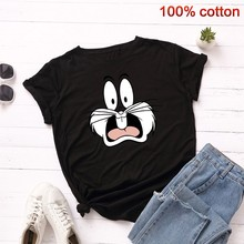 GUMPRUN Women Streetwear Rabbit Head Print T Shirt Summer Plus Size Short Sleeve Graphic Tshirt Casual Fashion Cotton