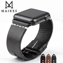 MAIKES Genuine Leather Strap For Apple Watch Band 44mm 40mm 42mm 38 Series 6 5 4 3 2 Black Bracelet iWatch Watchband Watch Strap