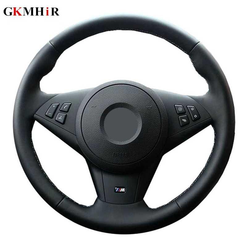 GKMHiR noir main couture cuir artificiel couverture de volant de voiture pour BMW E60 E63 E64 M5 2005 2007 2008 M6 2007