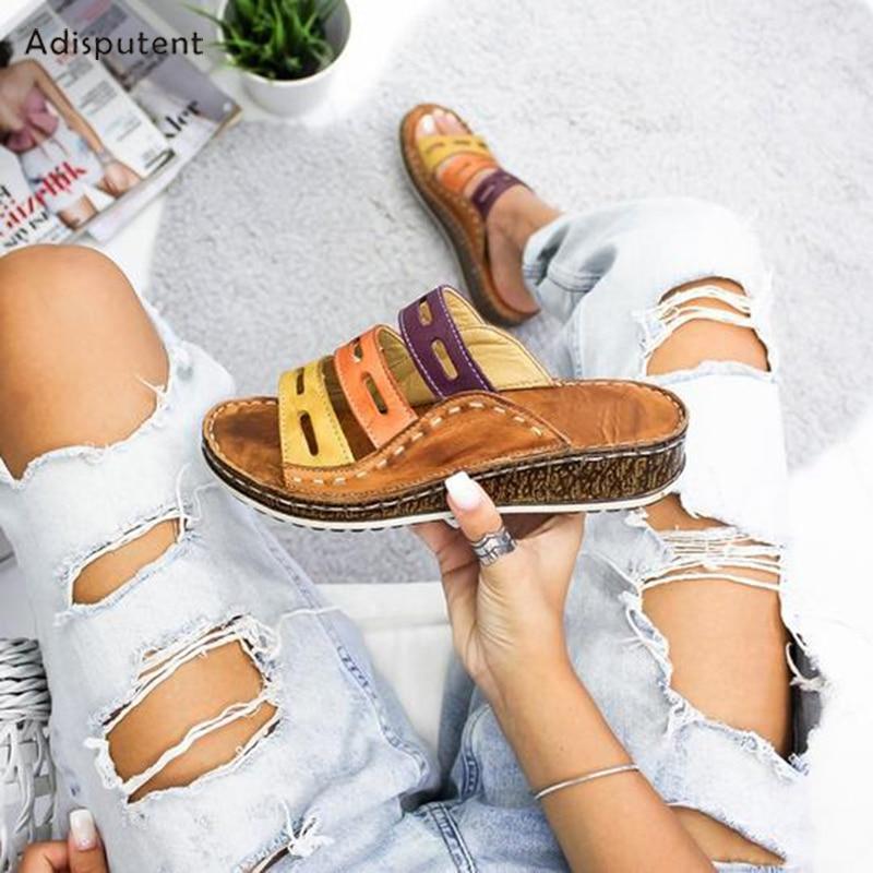 ADISPUTENT Summer Women Casual Sandals 3 Color Stitching Sandals Ladies Open Toe Shoes Platform Wedge Slides Beach Woman Shoes