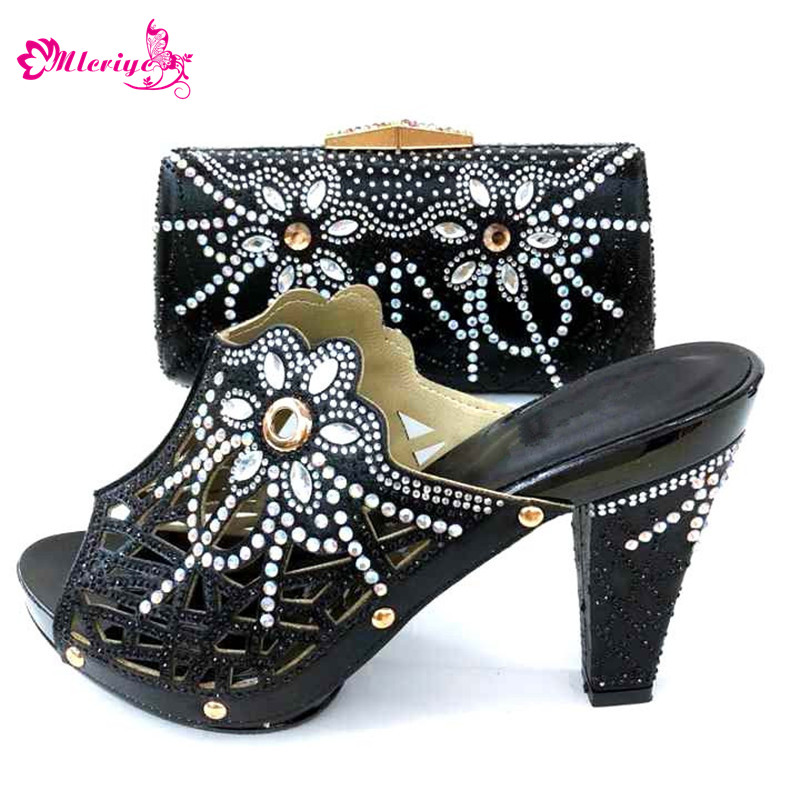 2019 New Italian Style Rhinestone Pumps Shoes And Bags Set For Wedding Fashion BLACK High Heels Woman Shoes And Special Bag Set цена