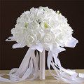 Artificial Rose Flowers Wedding accessories Bridal Bouquets with Ribbon Pearl Crystal Bouquet for Brides mariage buque de noiva