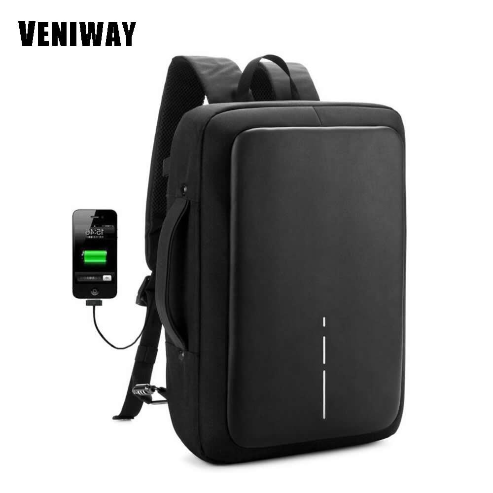VENIWAY Hommes de Sac À Dos Anti vol XD Ville Conception Sacs À Dos Chargeur USB Étanche sac de voyage pour 15.6 portable pochette d'ordinateur