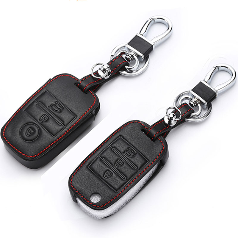 Genuine Leather Key Cover Leather Key Cases For Kia ceed cerato sportage 2018 Optima K5 Sportage 3/4 Button Remote Control image