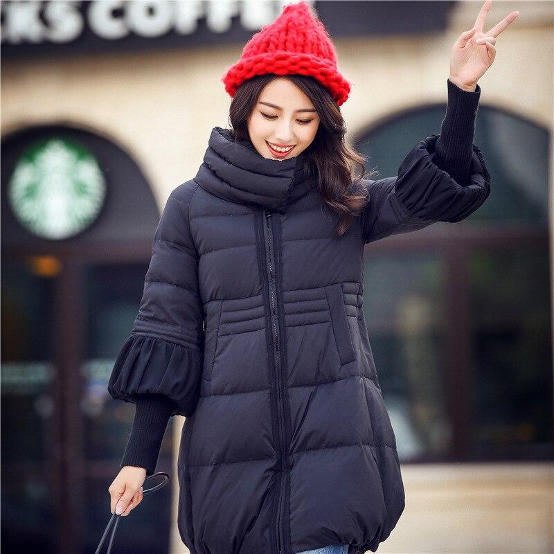 ФОТО Wadded Jacket For Women Nice Female Cotton Padded Coat A-Line Thread Cuff Warm Winter Long Parkas Women Plus Size 2XL HJ211