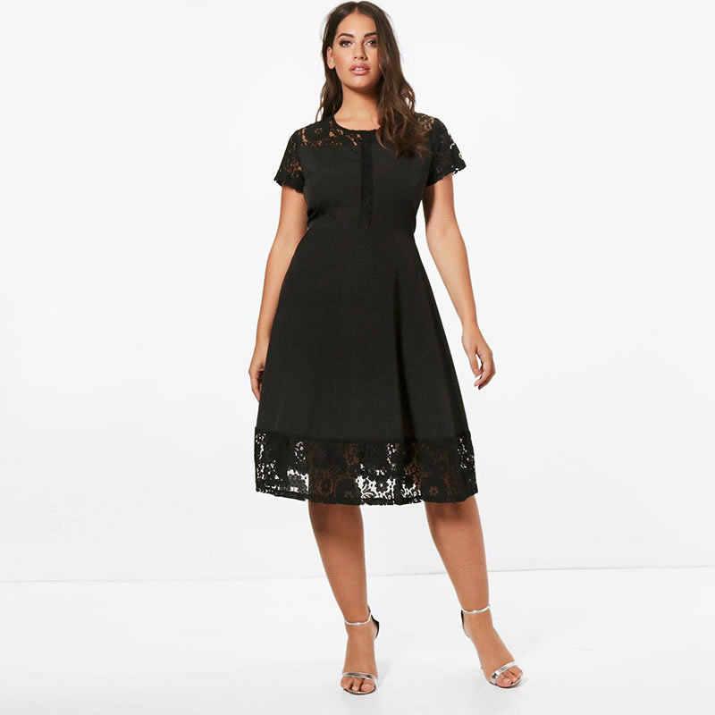 e1025c41289 H лето большие платья 2019 миди красивое вечернее платье трапециевидной  формы плюс размер платье