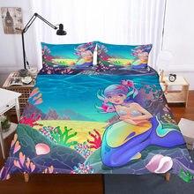 Cartoon Mermaid 3D bedding set Duvet Covers Pillowcases Children room decor comforter sets bedclothes bed linen