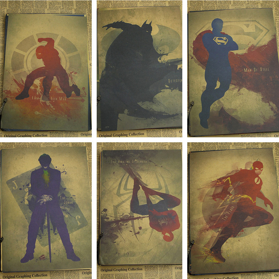 Retro Kraft Paper Poster Retro art Wall home Decoration Catwoman / wonder woman / flash / Superman / spider man 30*21cm