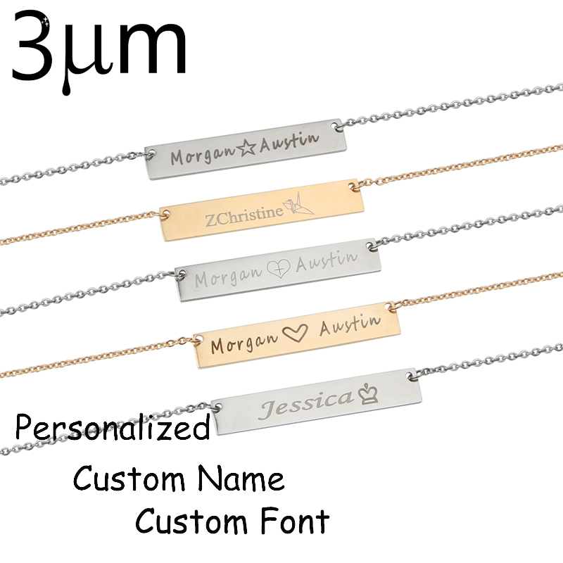 3UMeter Necklace for Amazon 40*7mm Gold Color Stainless Steel Bar Custom Engraved Name Necklace Personalized Initial Necklace