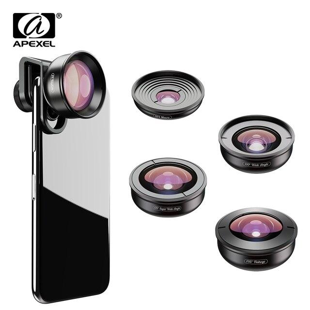 APEXEL optic High quality 5 in 1 Camera Phone Lenses 4K Wide macro Fisheye Tele super wide Lens for iPhonex xiaomi allsmartphone