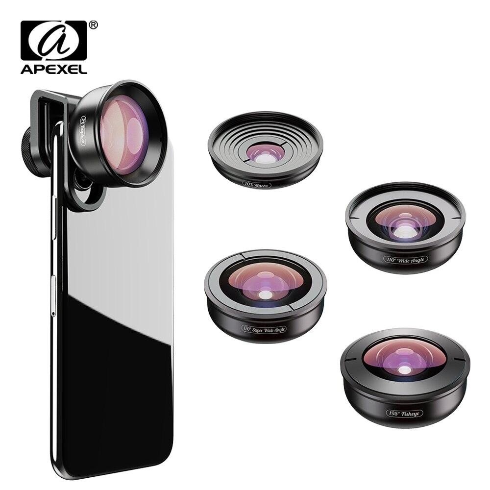 APEXEL 5 em 1 óptica de Alta qualidade Lentes de Câmera Do Telefone 4 K Grande olho de Peixe macro Tele Lente super grande angular para xiaomi iPhonex allsmartphone