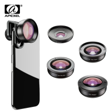 APEXEL optic High quality 5 in 1 Camera Phone Lenses 4K Wide macro Fisheye Tele super wide Lens for iPhonex xiaomi allsmartphone