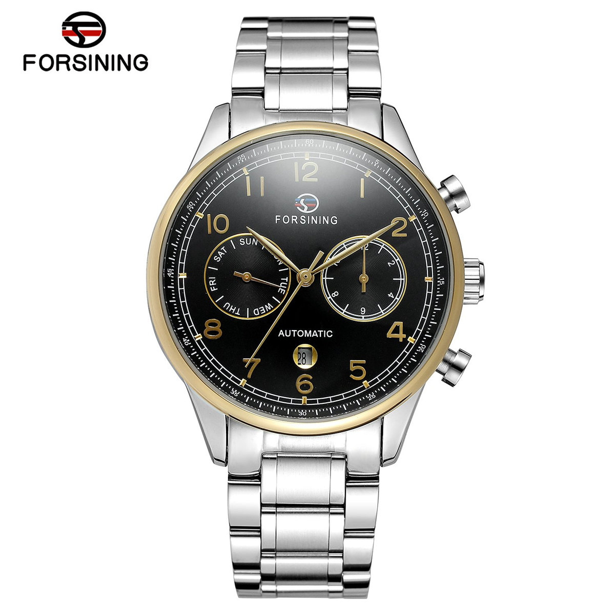 Forsining Mens Watches Top Brand Luxury Automatic Mechanical Watch Men Full Steel Business Sport Watches Relogio Masculino mce top brand mens watches automatic men watch luxury stainless steel wristwatches male clock montre with box 335