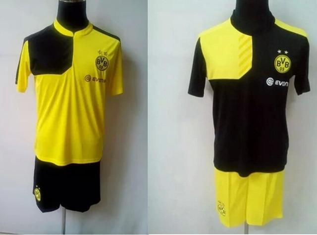 33d70f30b NEW Camisa Borussia Dortmund 2015 2016 Soccer uniforms Jerseys Dortmund FC  home yellow away black Marco Reus Jersey Hummels set